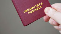 german immunity pass or passport - hand holding mock-up european immune certificate travel document
