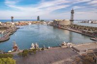 Barcelona Spain, high angle view city skyline at Barcelona beach and port
