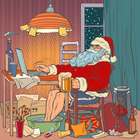 Online Santa Claus at home on self-isolation. Christmas in quarantine