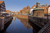 Hanseatic harbor with the wooden pedal crane, old town, Stade, Lower Saxony, Germany, Europe