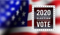 USA presidental election 2020. Vector illustration with american flag