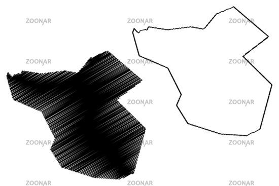 Moka District (Republic of Mauritius, island, Districts of Mauritius) map vector illustration, scribble sketch Moka map
