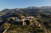 Aerial view El Castell de Guadalest and surroundings. Spain