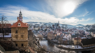 View of castle and houses in Cesky Krumlov in winter, Czech republic