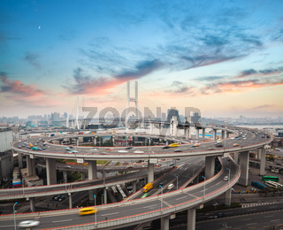 shanghai nanpu bridge in sunset
