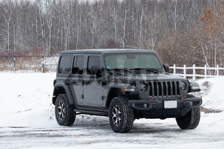 Gray Jeep Wrangler Rubicon Parked in Snowy Lot