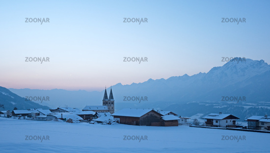 Village in Tirol with Alps