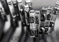 the word BLOG with old typewriter