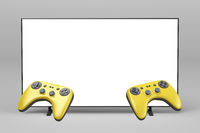Gaming controllers and TV with empty screen