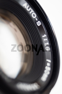 Close up of the outer lens of a camera