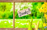 Vintage Window Frame, Sign, Calligraphy Danke Means Thank You, Grass Meadow