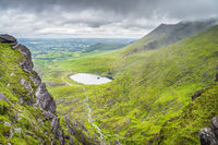 Panoramic view from Devils Ladder on lake and valley below