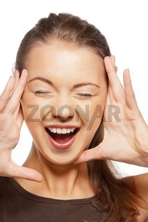 happy screaming teenage girl
