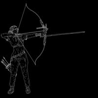 Sketches silhouettes attractive female archer bending a bow and aiming in the target