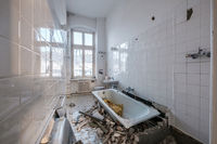 old bathroom during renovation - flat renovation concept -