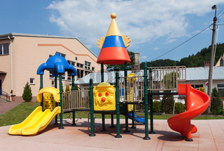 Colorful playground during sunny day.