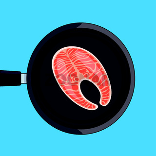 Grill salmon vector. Stock vector illustration