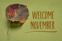 welcome November with a dried leaf on handmade paper