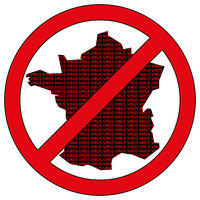 France silhouette with the word virus in prohibitory sign