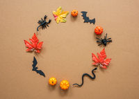 Circle Of Scary Halloween And Autumn Decoration, Copy Space