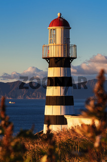Lighthouse on coast of Pacific Ocean in morning at sunrise