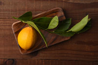 A fresh picked lemon with stem and leaves attached on a wood tray on a rustic dark wood table.
