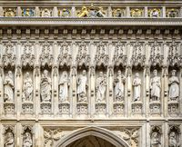 westminster abbey facade close up in london