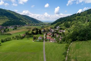 Aerial photo of the small climatic health resort Muenstertal in the southern Black Forest