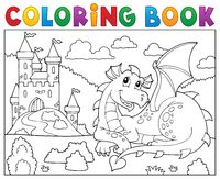 Coloring book lying dragon theme 2