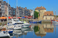 The Vieux Port and  La Lieutenance in Honfleur, France