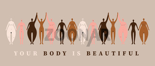 Empowered woman naked holding hands together in different body types and skin colors. Multiracial and gender equality