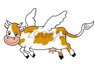 Cartoon Flying cow