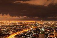 Panorama view of Bangkok city scape at nighttime Thailand