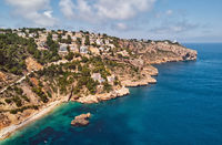 Aerial picturesque Ambolo beach. Javea, Costa Blanca, Spain