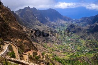 Aerial Hiking trail in Paul Valley, Santo Antao island, Cape Verde