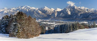 panoramic landscape in winter with mountain range
