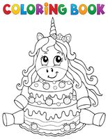 Coloring book unicorn with cake 1
