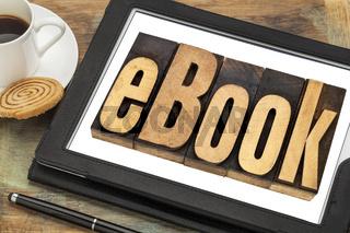 ebook word on digital tablet