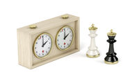 Chess king pieces and analog chess clock