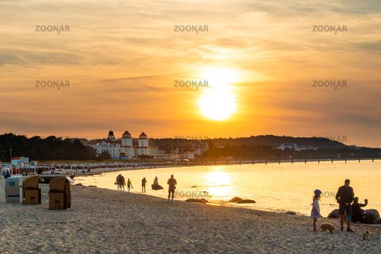 The beach of Binz on Rügen in the sunset light, Mecklenburg-Vorpommern, 2020