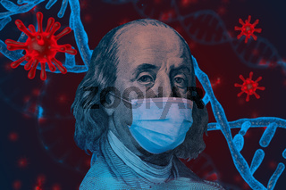 Benjamin Ben Franklin isolated face from 100 dollar banknote with a face mask on covid background