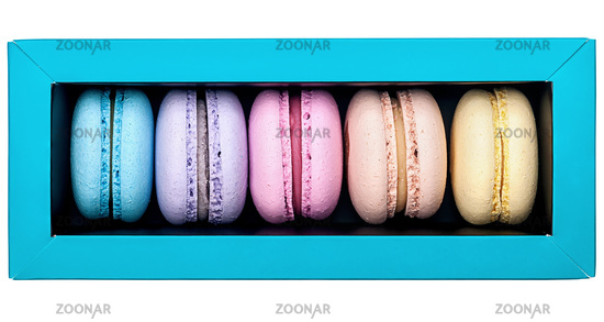 Multicolored macaroon in box top view