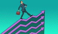 Successful businessman going up growth charts