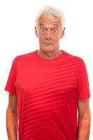 Portrait surprised senior sport man