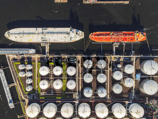 Large industrial ships cargo with gas tanks oil tanks