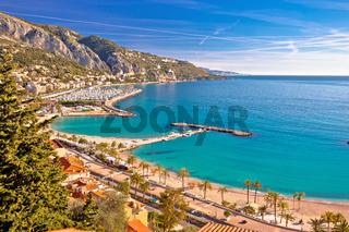 Town of Menton bay and French Italian border on Mediterranean coast view