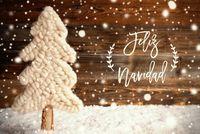 Fabric Christmas Tree, Snow, Feliz Navidad Means Merry Christmas, Snowflakes