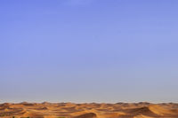 Sand dunes to the horizon in the Sahara, Morocco, Africa.