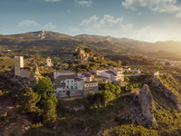 Aerial view El Castell de Guadalest and surroundings. Spain