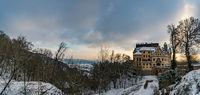 Fantastic snowy winter landscape at the Castle Heiligenberg on Lake Constance